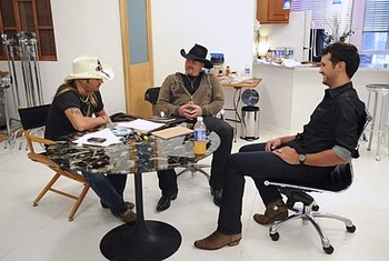Bret Michaels, Trace Adkins & Luke Bryan on the set of Celebrity Apprentice